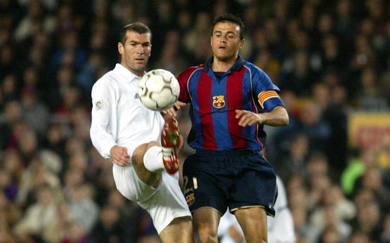 Zinedine Zidane of Real Madrid and Luis Enrique of Barcelona in action - Credit: Getty Images