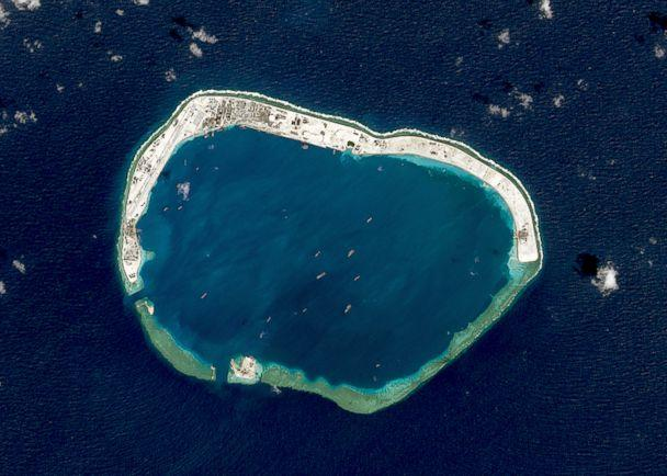 PHOTO: A satellite image of Mischief Reef located in the Spratly Islands in the South China Sea on Feb. 18, 2016. (USGS/NASA Landsat data/Orbital Horizon/Gallo Images/Getty Images)