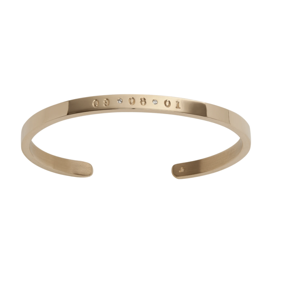"""<p><strong>JEWELRY</strong></p><p>jenniferfisherjewelry.com</p><p><strong>$1615.00</strong></p><p><a href=""""https://jenniferfisherjewelry.com/collections/live-stamping/products/essential-cuff?variant=3614862999565"""" rel=""""nofollow noopener"""" target=""""_blank"""" data-ylk=""""slk:Shop Now"""" class=""""link rapid-noclick-resp"""">Shop Now</a></p><p>There are cuffs and then there's Jennifer Fisher's Essential Cuff, which is in a league of its own when it comes to timelessly glam customizable jewelry. The 14k gold cuff can be engraved with 6 characters in total to represent a meaningful date or series of 3 separate monograms. <br></p>"""