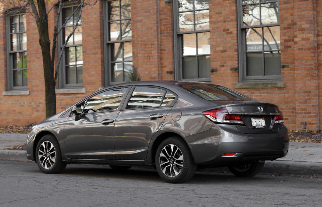 <p> A 2013 Honda Civic is shown in Detroit, Tuesday, Nov. 27, 2012. Just 19 months after its Civic compact car hit showrooms and got slammed by critics, the company has revamped the vehicle, giving it a new look and upgrading the interior. (AP Photo/Paul Sancya) </p>