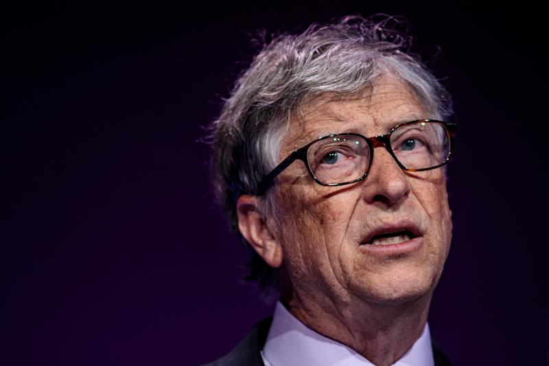 LONDON, ENGLAND - APRIL 18: American businessman and philanthropist Bill Gates makes a speech at the Malaria Summit at 8 Northumberland Avenue on April 18, 2018 in London, England. The Malaria Summit is being held today to urge Commonwealth leaders to commit to halve cases of malaria across the Commonwealth within the next five years with a target to 650,000 lives. (Photo by Jack Taylor/Getty Images)