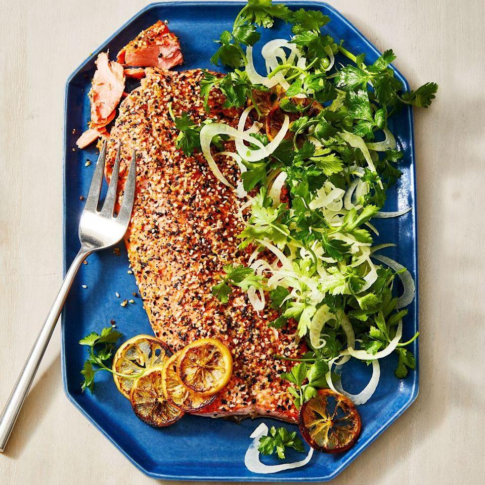 "<p>If you're looking for a show-stopping centerpiece for family dinner, check out this tender side of salmon coated with everyone's favorite seasoning and served with a bright and fresh fennel salad.</p><p><em><a href=""https://www.goodhousekeeping.com/food-recipes/a34398164/everything-bagel-salmon-recipe/"" rel=""nofollow noopener"" target=""_blank"" data-ylk=""slk:Get the recipe for Everything Bagel Crusted Salmon »"" class=""link rapid-noclick-resp"">Get the recipe for Everything Bagel Crusted Salmon »</a></em></p>"