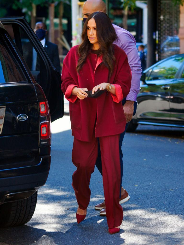The Duke and Duchess of Sussex, Prince Harry and Meghan visit One World Observatory on 102nd floor of Freedom Tower of World Trade Center. (Getty Images) Meghan, Duchess of Sussex, and Prince Harry, Duke of Sussex, are seen in Midtown on September 23, 2021 in New York City. (Getty Images) Meghan Markle speaks onstage during Global Citizen Live, New York on September 25, 2021 in New York City.