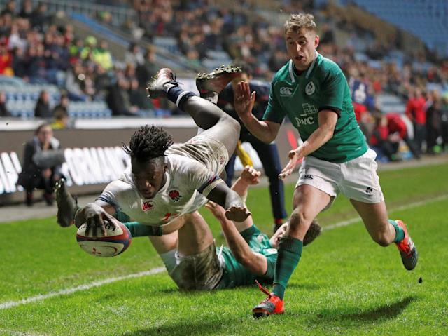 Rugby Union - Under 20's Six Nations Championship - England vs Ireland - Ricoh Arena, Coventry, Britain - March 16, 2018 England's Gabriel Ibitoye in action Action Images/John Sibley TPX IMAGES OF THE DAY