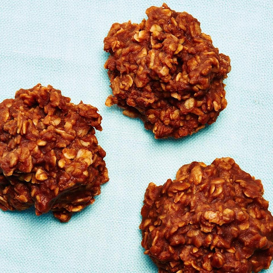 """<strong>Janice's No-Bake Cookies</strong><br>Yield: Approximately 36 cookies<br><br><strong>Megan McIntyre:</strong><em><strong> """"</strong>I'm a sucker for oatmeal raisin cookies, but not too big on actually cooking them — I'm scared of my oven. I'm pretty sure it's hatching nefarious plans to facilitate my demise. So, these no-bake cookies my mom introduced me to are a perfect solution; they've got the oats, plus chocolate, and the best part is I don't need to even look at my oven. They look a little gross when you spoon them out on the parchment paper, but believe me, these homely cookies are not only delicious, they're idiot-proof. Take it from me.""""</em><br><br><strong>Ingredients</strong><br>2 cups sugar<br>1 stick of margarine<br>4 tbsp cocoa<br>1/2 cup milk<br>3 cups oatmeal<br>1 tsp vanilla<br>1/2 to 1 cup peanut butter<br><br><strong>Instructions</strong><br>1. Boil the sugar, margarine, cocoa, and milk together for 3 minutes, stirring constantly. Do not cook more than 4 minutes!<br><br>2. Remove from heat and add in your oatmeal, vanilla, and peanut butter. You'll have to be quick when you add these three ingredients, because as the mixture cools down, it starts to harden. So get those ingredients mixed in quick and scoop with a spoon onto parchment.<br><br>3. Scoop cookies onto a piece of parchment to set (should set in about 30 minutes).<br><br>4. Store in the fridge to keep them from getting melty if you have a warm kitchen.<span class=""""copyright"""">Photographed by Ted Cavanaugh; Food Styling by Claudia Ficca.</span>"""