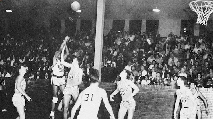 Willie Brown (50) competes during the 1963-64 season for Father Ryan — Diocese of Nashville