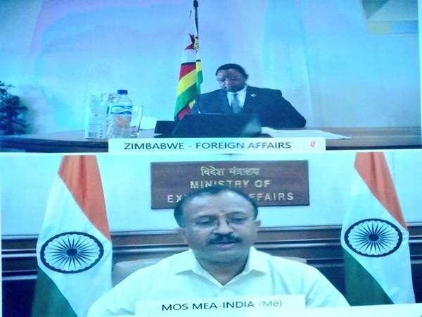 Union Minister of State for External Affairs V Muraleedharan interecting with Foreign Affairs Minister of Zimbabwe, Dr Frederick Shava. (Photo/Twitter handle of MOS)