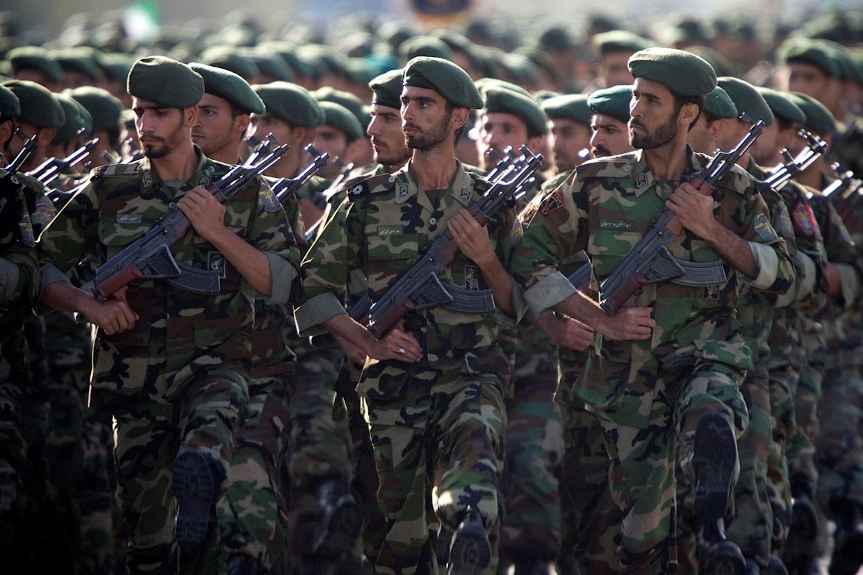 Members of Iran's Revolutionary Guards march in Tehran during a military parade in 2007. (Photo: Morteza Nikoubazl/Reuters)