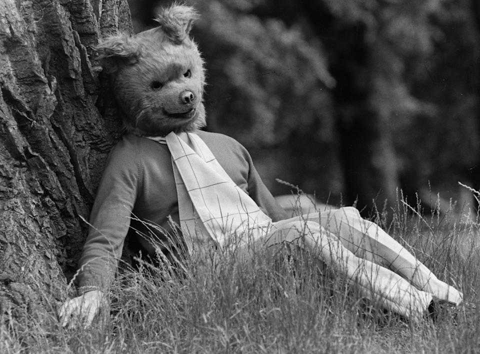 1972:  Rupert Bear, star of the new musical 'The Rupert Show', which is shortly to open at the Victoria Palace Theatre, London, has a rest in Hyde Park.  (Photo by Evening Standard/Getty Images)
