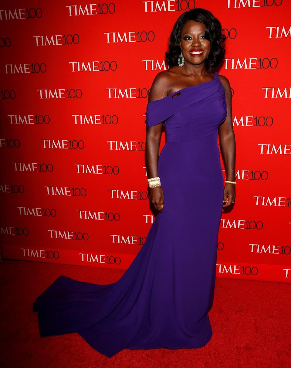 <p>The actress, who delivered an incredible toast, looked breathtaking in a deep purple Giorgio Armani gown. (Photo: Reuters) </p>
