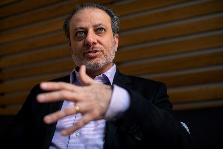 """Former U.S. Attorney for the Southern District of New York Preet Bharara speaks during an interview with Reuters ahead of the release of his book """"Doing Justice: A Prosecutors Thoughts on Crime, Punishment and the Rule of Law"""" in New York City, New York, U.S. March 13, 2019. Picture taken March 13, 2019. REUTERS/Mike Segar"""