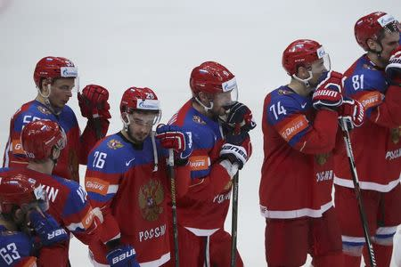 Ice Hockey - 2016 IIHF World Championship - Semi-final - Finland v Russia - Moscow, Russia - 21/5/16 - Players of Russia after the game. REUTERS/Grigory Dukor