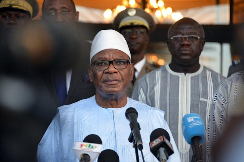 Mali's President Ibrahim Boubacar Keita, pictured in August 2017, inaugurated the Sevare, Mali, headquarters of an antiterrorism force comprising troops from his own country as well as Niger, Chad, Mauritania and Burkina Faso