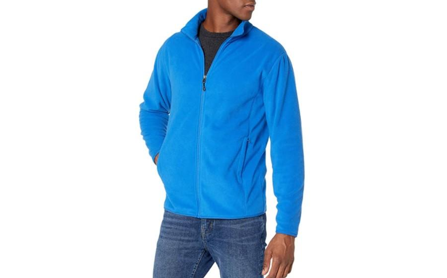 Amazon Essentials Men's Full-Zip Polar Fleece Jacket in cobalt.( Image via Amazon)
