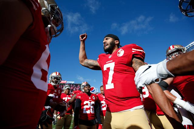 Colin Kaepernick reportedly wanted $20 million to play for a league that has promised to avoid politics and controversy. (Getty)