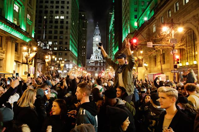 <p>Philadelphia Eagles Fans celebrates their victory of the Super Bowl LII game against New England Patriots on February 4, 2018 in Philadelphia, Pennsylvania..(Photo by Eduardo Munoz Alvarez/Getty Images) </p>