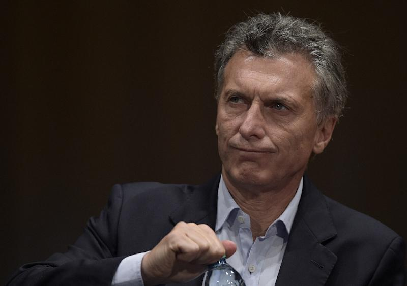 Argentina's president elect Mauricio Macri gestures during a press conference in Buenos Aires on November 23, 2015