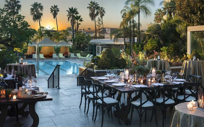 The Four Seasons Los Angeles at Beverly Hills seduces with sweeping LA views, an outdoor pool oasis and lovely restaurant