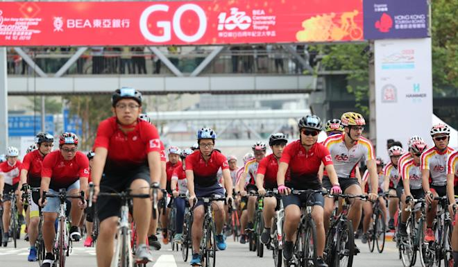 Riders compete in last year's Cyclothon in Tsim Sha Tsui. This year's event was expected to draw 10,000 participants. Photo: K. Y. Cheng