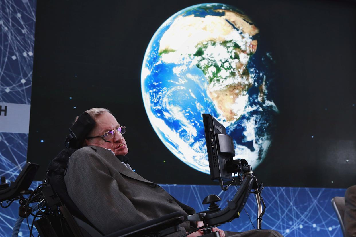 At age 74, Stephen Hawking sits onstage during an announcement of the Breakthrough Starshot initiative with investor Yuri Milner in New York on April 12, 2016. (Photo: Lucas Jackson/Reuters)