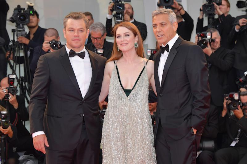 George Clooney, Julianne Moore and Matt Damon walk the red carpet at the 74th Venice Film Festival. (Dominique Charriau via Getty Images)