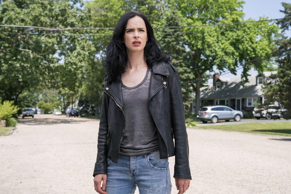 """<p>Krysten Ritter's Jessica Jones addresses issues as timely as sexual harassment in this Netflix original. The heroic lead not only moonlights as a private investigator, but also defends other women thanks to superhuman abilities she developed after a chemical spill that killed her parents. </p><p><a class=""""link rapid-noclick-resp"""" href=""""https://www.netflix.com/title/80002311"""" rel=""""nofollow noopener"""" target=""""_blank"""" data-ylk=""""slk:Watch Now"""">Watch Now</a><br></p>"""