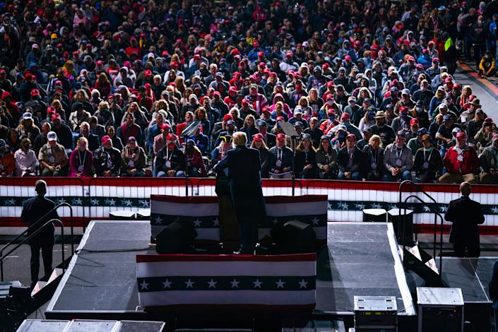 President Donald Trump at a campaign rally Tuesday in Johnstown, Pennsylvania. About 78% of white evangelicals told Pew they were leaning toward voting for the president's reelection. (Photo: Evan Vucci/Associated Press)