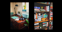 The second bedroom was converted into a home office for two. It includes a library, tucked into the niche originally occupied by a built-in wardrobe.