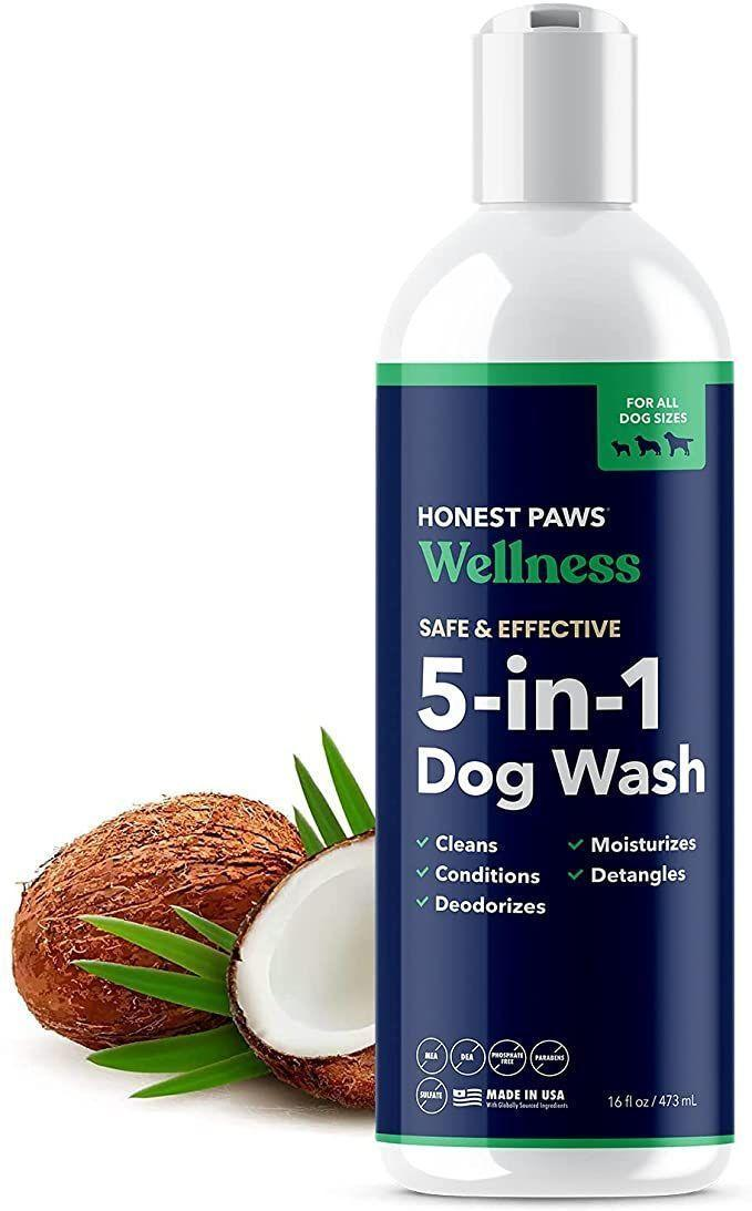 """<p><strong>Honest Paws </strong></p><p>amazon.com</p><p><strong>$16.99</strong></p><p><a href=""""https://www.amazon.com/dp/B08KH6GRKK?tag=syn-yahoo-20&ascsubtag=%5Bartid%7C2164.g.36563635%5Bsrc%7Cyahoo-us"""" rel=""""nofollow noopener"""" target=""""_blank"""" data-ylk=""""slk:Shop Now"""" class=""""link rapid-noclick-resp"""">Shop Now</a></p><p>This top-rated, multi-tasking dog shampoo cleans, deodorizes, and conditions the coat, detangles fur, and moisturizes the skin. In other words, it will make your pup look and feel their best.</p>"""