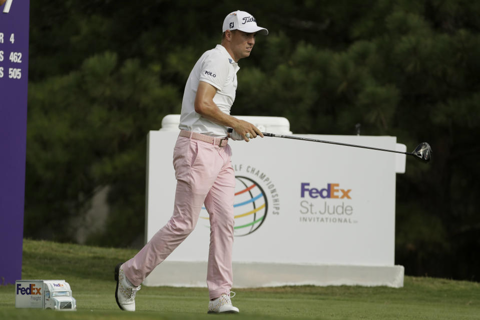 Justin Thomas watches his tee shot on the 17th hole during the final round of the World Golf Championship-FedEx St. Jude Invitational Sunday, Aug. 2, 2020, in Memphis, Tenn. (AP Photo/Mark Humphrey)