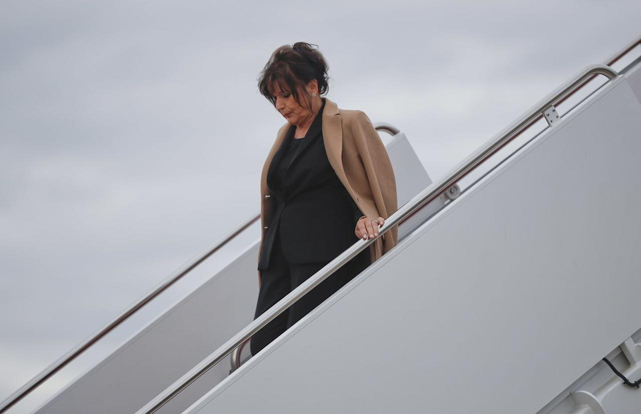 """<p>Amalija Knavs, pictured here, flew back to Washington on Air Force One with the Trumps after they <a href=""""https://www.townandcountrymag.com/society/politics/news/a9923/doanld-trump-mar-a-lago/"""" target=""""_blank"""">spent the 2018 Easter weekend at Mar-a-Lago</a>. </p>"""