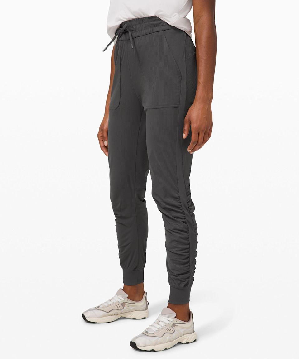 """<p><strong>Lululemon</strong></p><p>lululemon.com</p><p><strong>$118.00</strong></p><p><a href=""""https://go.redirectingat.com?id=74968X1596630&url=https%3A%2F%2Fshop.lululemon.com%2Fp%2Fwomens-joggers%2FBeyond-the-Studio-Jogger%2F_%2Fprod9960634&sref=https%3A%2F%2Fwww.elle.com%2Ffashion%2Fshopping%2Fg36181775%2Fbest-athleisure-wear-brands%2F"""" rel=""""nofollow noopener"""" target=""""_blank"""" data-ylk=""""slk:Shop Now"""" class=""""link rapid-noclick-resp"""">Shop Now</a></p><p>Lululemon's cult-favorite yoga <a href=""""https://www.elle.com/fashion/shopping/g25741109/best-high-waisted-leggings/"""" rel=""""nofollow noopener"""" target=""""_blank"""" data-ylk=""""slk:leggings"""" class=""""link rapid-noclick-resp"""">leggings</a> tend to get all the attention, but take your life off the mat with their athleisure offerings. We're particularly drawn to these joggers, which edge on gorpcore territory. </p><p><em>Style pictured available 0 to 20. </em></p>"""