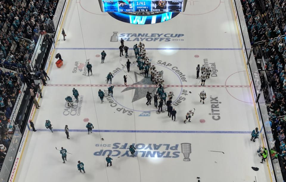 Sharks and Golden Knights shake hands after wild Game 7