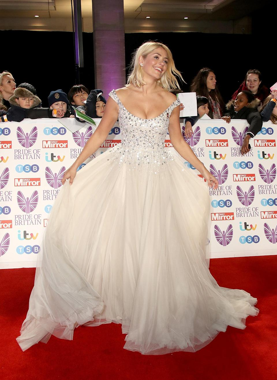<p>Holly Willoughby dazzled at the Pride of Britain Awards in this fairytale Jenny Packham frock. <em>[Photo: Getty]</em> </p>