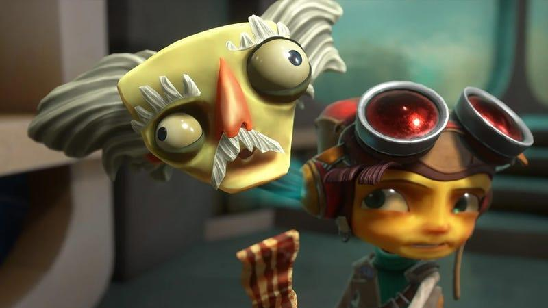 Raz using bacon to call his mentor out of his head in Psychonauts 2.