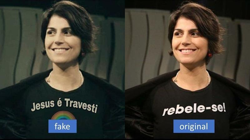 This manipulated photo of Manuela D'Avila, a leftist candidate for vice president in Brazil's 2018 elections, is an example of common tactic purveyors of fake memes and misinformation used to discredit their opponents. In it, the caption on her shirt is changed from its original