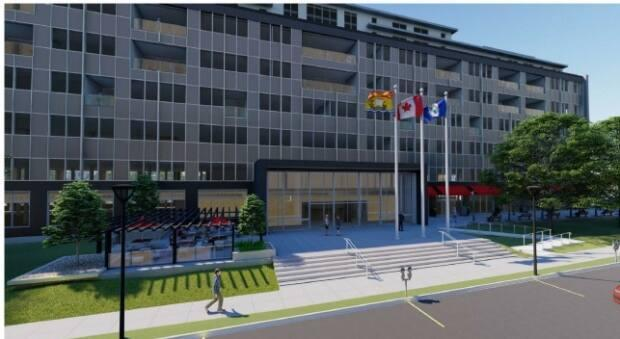 Centennial Heritage Properties bought the Centennial Building in 2019 and came up with a plan for apartments, hotel and retail space. (City of Fredericton - image credit)