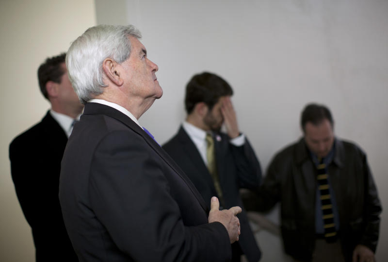 Republican presidential candidate, former House Speaker Newt Gingrich waits to be introduced during a campaign stop on Monday, Feb. 20, 2012 in Oklahoma City, Okla.  (AP Photo/Evan Vucci)