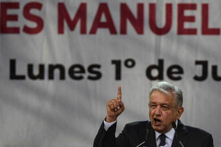 Mexican President Andres Manuel Lopez Obrador presents his government report at Mexico City's Zocalo Square in July 2019