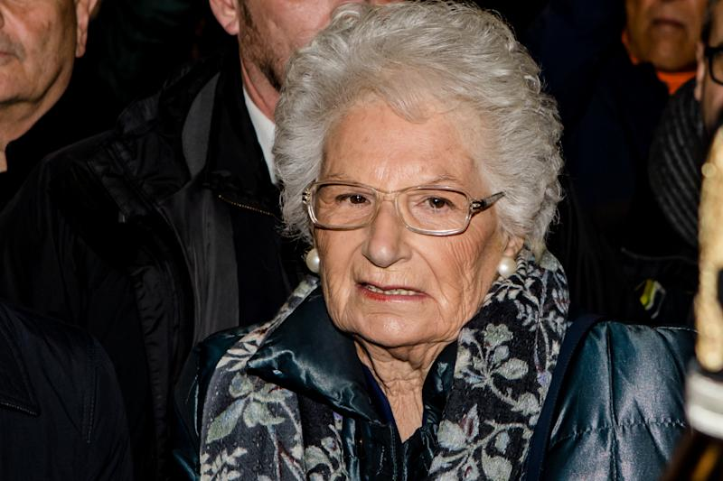Life senator Liliana Segre, survivor of the Nazi extermination camp of Auschwitz, from 8 November under escort for the repeated anti-Semitic threats received, attends during the march 'L'odio NON HA Futuro' on December 10 2019 in Milan, Italy. More than 600 mayors and councillors joined the procession that crossed the entire Piazza del Duomo in Milan and ended in Piazza della Scala where Liliana Segre spoke for a public intervention against the hatred that is increasing in Italy and Europe. (Photo by Mairo Cinquetti/NurPhoto via Getty Images)