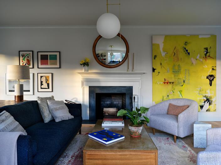In the living room, framed artworks by Joan Miró, among others, and an Ali Beletic painting from Tappan collective.