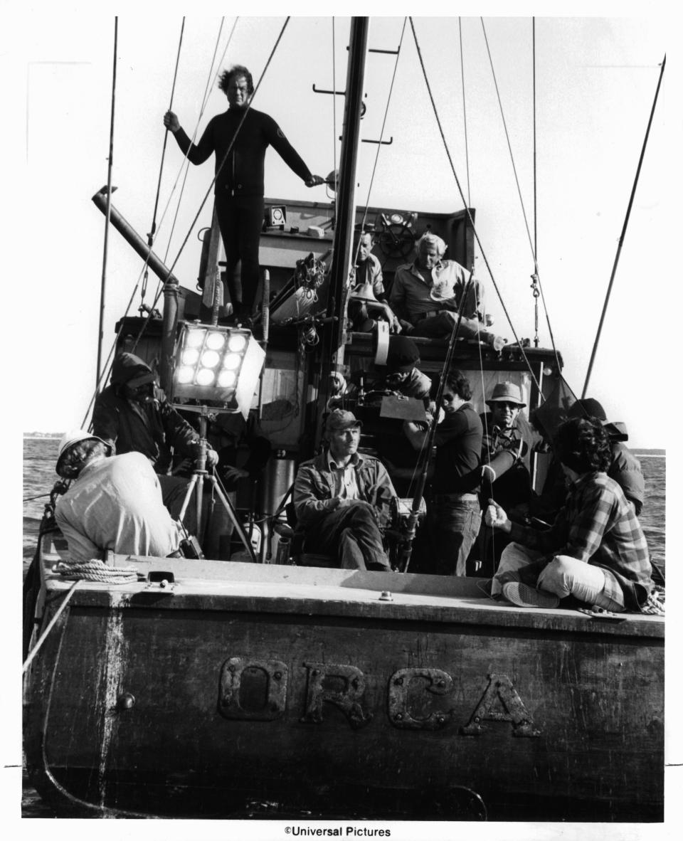 Roy Scheider on top deck as crew set up to film a scene from the film 'Jaws', 1975. (Photo by Universal/Getty Images)