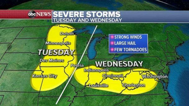 PHOTO: Severe storms are expected Tuesday and Wednesday. (ABC News)