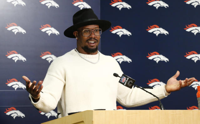 Denver Broncos outside linebacker Von Miller fields questions after an NFL football game against the Kansas City Chiefs Sunday, Dec. 31, 2017, in Denver. (AP Photo/Jack Dempsey)