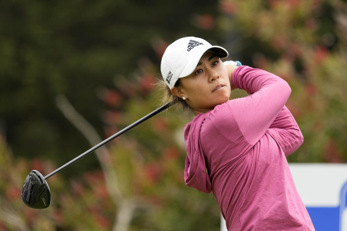 Danielle Kang, tees off on the first hole at Lake Merced Golf Club during the final round of the LPGA Mediheal Championship golf tournament Sunday, June 13, 2021, in Daly City, Calif. (AP Photo/Tony Avelar)