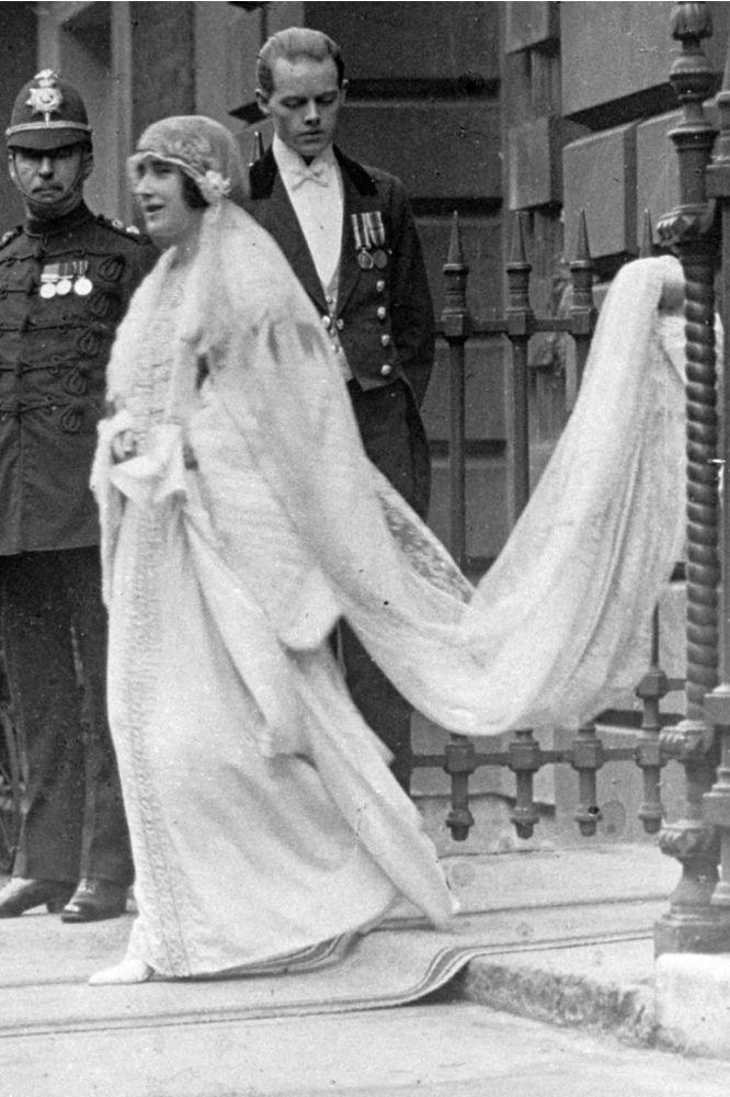 The Queen Mother at her wedding in 1923