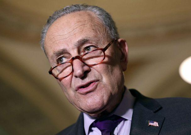 PHOTO: Senate Majority Leader Charles Schumer speaks to reporters following a Senate Democratic luncheon at the Capitol, June 15, 2021, in Washington, DC. (Kevin Dietsch/Getty Images)