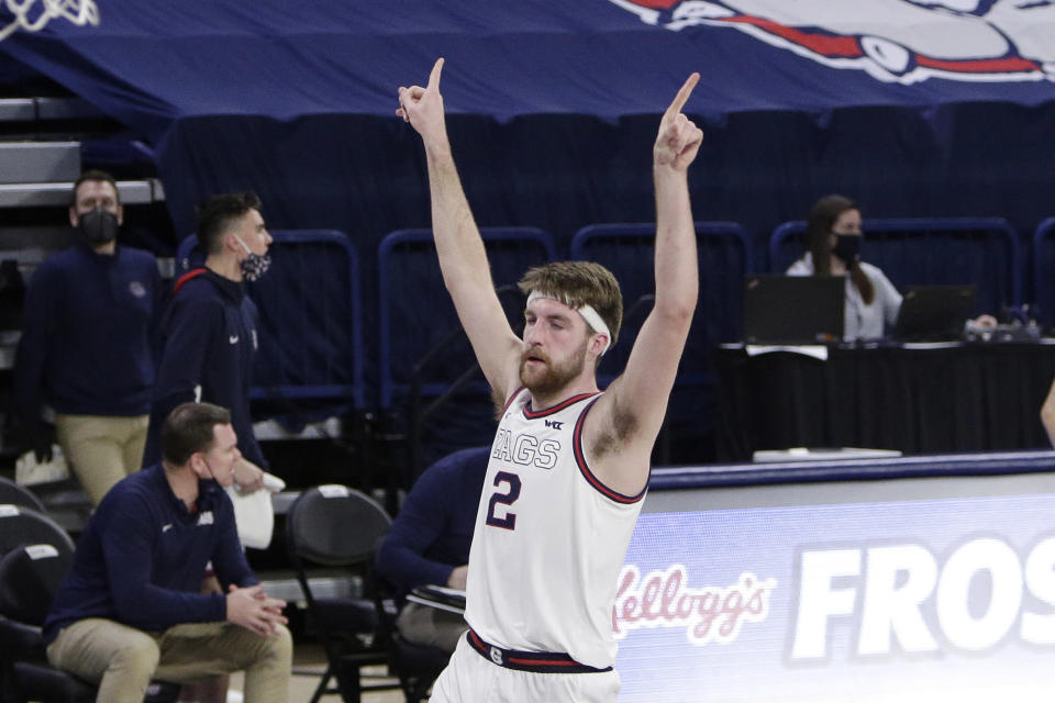 Gonzaga forward Drew Timme celebrates his basket during the second half of an NCAA college basketball game against Loyola Marymount in Spokane, Wash., Saturday, Feb. 27, 2021. Gonzaga won 86-69. (AP Photo/Young Kwak)