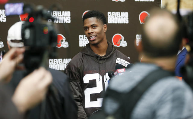 Cleveland Browns' Greedy Williams answers a question from the media during NFL football rookie minicamp Friday, May 3, 2019, in Berea, Ohio. (AP Photo/Ron Schwane)