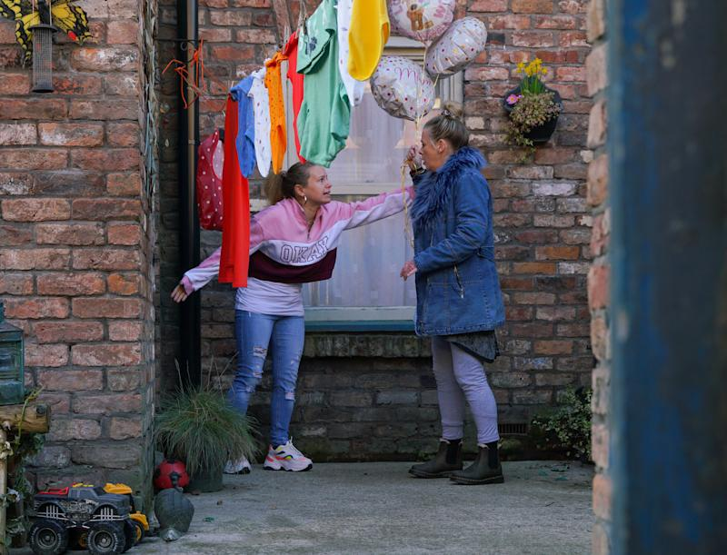 As the babies continue to cry, a panic stricken Gemma Winter [DOLLY-ROSE CAMPBELL] tries to break the door down. Arriving with Mother's Day balloons, Bernie Winter's [JANE HAZLEGROVE] shocked to find Gemma in such a distressed state. (ITV Plc)